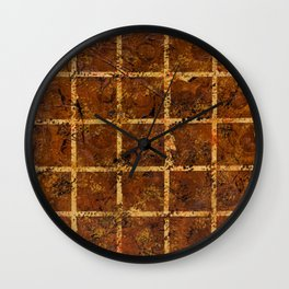 Brown Squares (Brown Abstract) Wall Clock