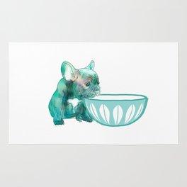 Dog with bowl #1 Rug