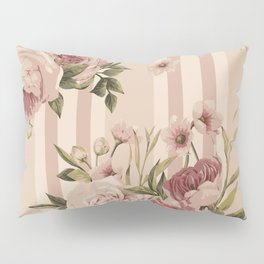 Flowers and Stripes Two Pillow Sham