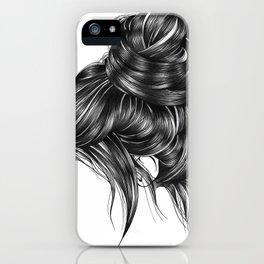 Loose Bun Hair Illustration iPhone Case