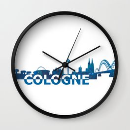 Cologne Germany Skyline Silhouette Strong with Text Wall Clock
