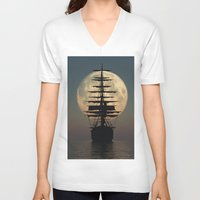ship V-neck T-shirts featuring Ship by samedia