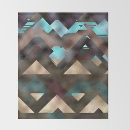 Bronze Brown Blue Burgundy Metal Abstract Mountains Throw Blanket