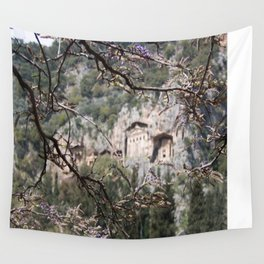 Wisteria Buds Surrounding the Lycian Tombs Dalyan Wall Tapestry