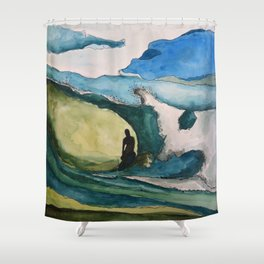 Watercolor Surfer Shower Curtain