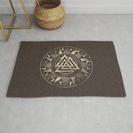 Valknut Symbol  - Brown Leather and gold Rug