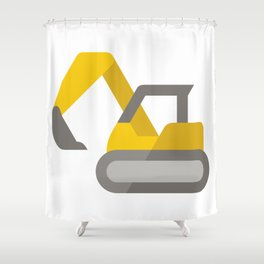 Yellow Excavator Icon Emoji Shower Curtain