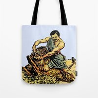 parks and recreation Tote Bags featuring Ron Swanson Slaying A Lion  |  Parks and Recreation by Silvio Ledbetter