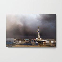 Oil Rig - Storm Passes Behind Derrick in Central Oklahoma Metal Print