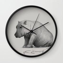 hippo bw Wall Clock