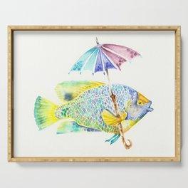 Fishy Fish - Original Watercolor of Yellow Mask Angel Fish with Umbrella Serving Tray