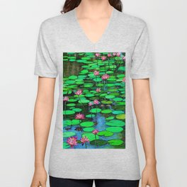 Homage to Ponds, Lilies and Lily Pads Unisex V-Neck
