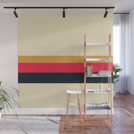 Groovy Salmon Yellow 70s Colorful Color Block Minimalist Stripes Pattern Wall Mural