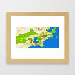RIO map design - Brasil Framed Art Print