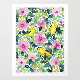 Birds n Flowers Yellow Art Print