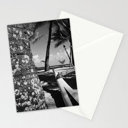 Kuau Beach Palm Trees and Hawaiian Outrigger Canoe Paia Maui Hawaii Stationery Cards