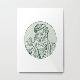 Sikh Guru Priest Waving Etching Metal Print