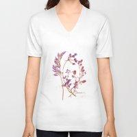 botanical V-neck T-shirts featuring Botanical 1 by JoanAHamilton