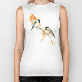 Chickadees and Orange Flowers Biker Tank