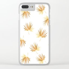 Golden Palm Leaf Clear iPhone Case