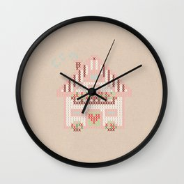 Cute little house cross stitch Wall Clock