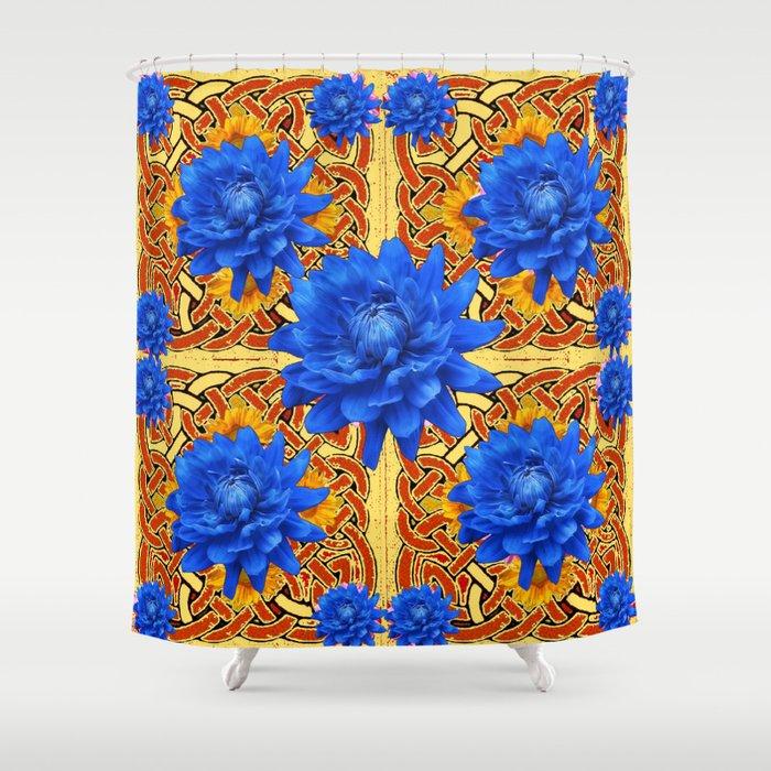 Yellow Brown Celtic Design Blue Dahlias Shower Curtain