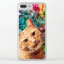 Orange Tabby Cat Clear iPhone Case