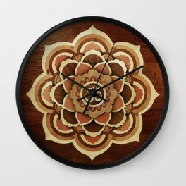 Patience and lucky of harmony mandala wood marquetry Wall Clock