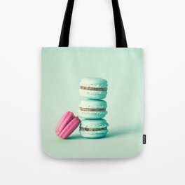tower of mint macarons, macaroons, over green mint Tote Bag