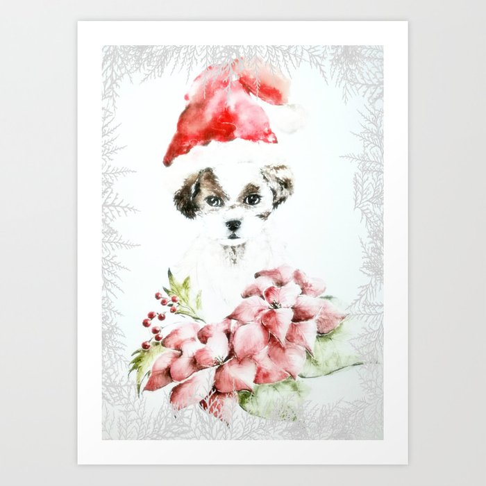 A Shih Tzu Christmas Art Print by adrianamijaiche | Society6