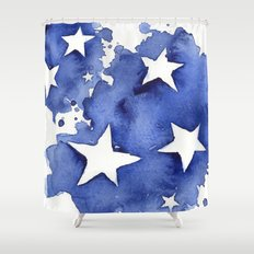 Stars Abstract Blue Watercolor Geometric Painting Shower Curtain