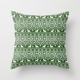 Cairn Terrier dog breed pet pattern fair isle christmas sweater cute holiday dog lover Throw Pillow