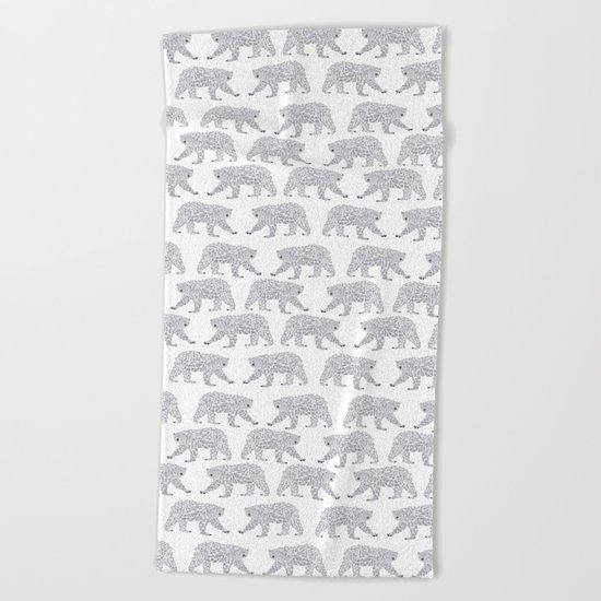 Polar Bears geometric trendy kids bear pattern print for boy or girl gender neutral Beach Towel