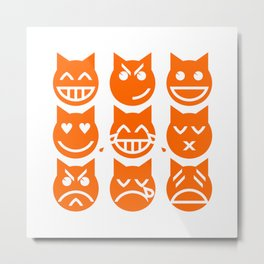 The 9 Lives of the Emoji Cat Metal Print