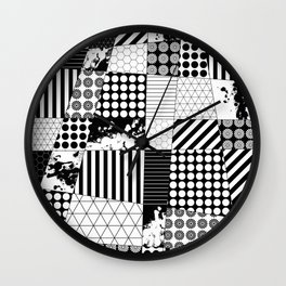 Mosaic Contrast - Black and white, geometric design Wall Clock