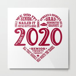 Class of 2020 Senior Subway art words Metal Print