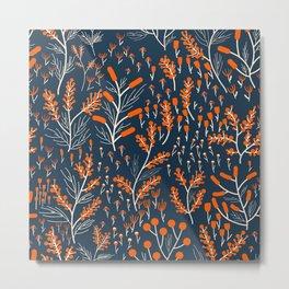 Orange Flowers Pattern Metal Print