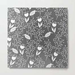 Kiwi Garden - dark gray and white Metal Print