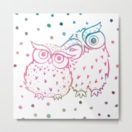 Owls - pink and blue Metal Print