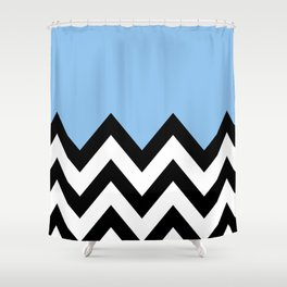 BLUE COLORBLOCK CHEVRON Shower Curtain