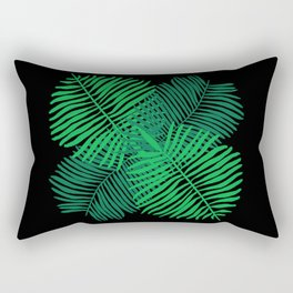 Modern Tropical Palm Leaves Painting black background Rectangular Pillow