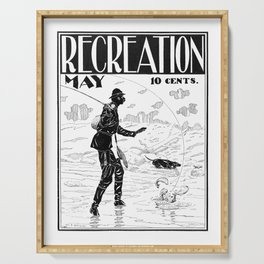Vintage Fly Fishing Print - Recreation Magazine, 1890s - Man Cave Serving Tray