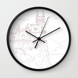 Old medieval castle on the cliff, wall art Wall Clock