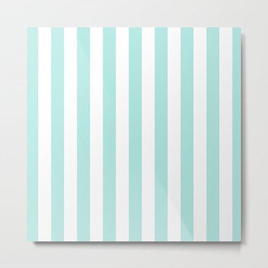 Aqua Stripes vertical- Beautiful maritime pattern Metal Print