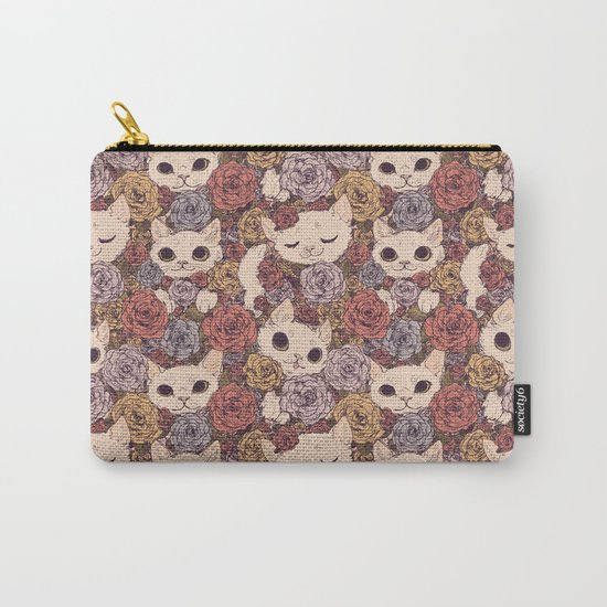 Floral Cat Pattern Carry-All Pouch