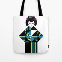 geisha Tote Bags featuring GEISHA by Oscar Odd Diodoro