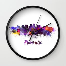 Phoenix skyline in watercolor Wall Clock