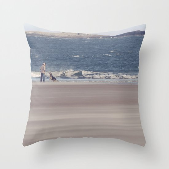 fishing with dogs... Throw Pillow