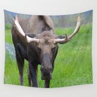 bull Wall Tapestries featuring Bullwinkle Bull by Alaskan Momma Bear