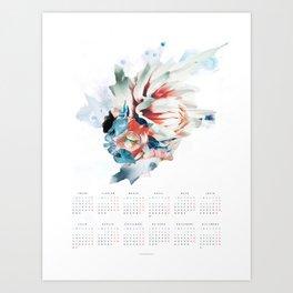 CALENDARIO 2018 - POSTER FLORAL EN CASTELLANO Art Print